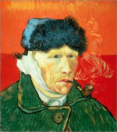 poster-vincent-van-gogh-mit-pelzmuetze-verbundenem-ohr-und-tabakspfei-391440